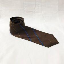 Caflor Silk Tie Skinny Narrow Striped Brown Blue Gold Necktie Italy Vintage