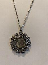"Unum"" Coin Flower Scroll Pendant Necklace Vintage Silver Tone Chain ""E Pluribus"