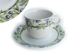 1 Corelle OLIVE BRANCHES Stoneware CUP & SAUCER SET *Purple Green Tuscan Napa NW
