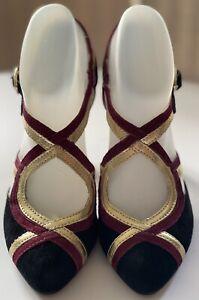 NWB Seychelles Strappy Black Gold Burgundy Cone Heel Shoes Women's Sz 6.5