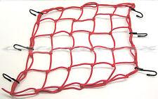 "RED Cargo Net Bungee Tie Down 6 Hook 15"" x 15"" Emgo Motorcycle ATV UTV Pick-up"