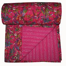 Reversible Kantha Quilt Indian King Bedding Boho Bedspread Bed Cover Bohemian