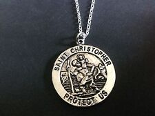"""St Christopher Coin Necklace tibetan silver plated 16"""" or 18""""  chain Religious"""