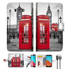 British phone Booth Wallet TPU Case Cover For LG G4-- A024