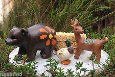 Miniature Dollhouse FAIRY GARDEN Accessories ~ Lakeside Set /3 Bear, Deer & Duck