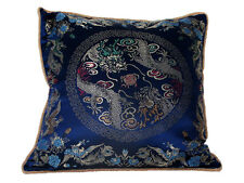 Chinese Silk Decor, Cushion Cover - Blue Base with Two Dragons - 40 x 40 cm