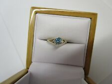 GORGEOUS ESTATE 14 KT GOLD  VIVID  BLUE DIAMOND RING !!!!!!!!!!!!