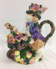 Fitz and Floyd Bunny Rabbit Wheel Barrow Teapot Hand painted