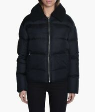 Anthropologie Wood Wood Quilted Crepe Lilo Down Puff Coat Black Shearling Sz 40