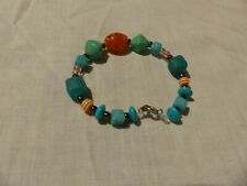 "7"" long, Handcrafted Jewelry Bracelet Turqouise, Orange, White Beads,"