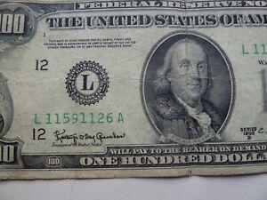 Vintage $100 One Hundred Dollar Bill Federal Reserve Note Series 1950D MONEY
