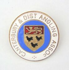 Vintage Enamel Canterbury & District Association Angling Club Pin Badge -