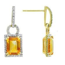 14K YELLOW GOLD PAVE DIAMOND EMERALD CUT CITRINE DROP DANGLING EARRINGS