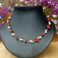 *Freedom Tree* Red Coral & Real Fresh Water Pearl Gemstone Necklace Hand Made