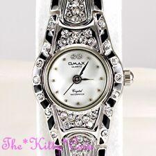 Omax Deco Vintage Black Enamel Silver Rhodium Plt Seiko Movement Watch JE0518