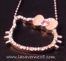 Collier chaine + pendentif Hello Kitty noeud rose et strass fermoir mousqueton