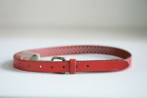Fossil Red Leather Skinny Perforated Cute Pretty Belt Small
