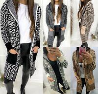 Womens Ladies Greek Key Print Chunky Knitted Longline Hooded Cardigan Jumper Top