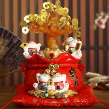 1 PC Resin Lucky Cat Coin Tree Shop Opening Decor Red Good Fortune Creative Gift