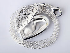 love heart Silver valentine necklace pendant lover locket chain