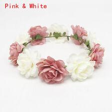 3D Rose Flower Hair Garland Crown Headband Floral Wreath Bridal Hair Accessories