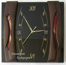 Настенные часы черные с красным прямоугольные из стекла дерева элитные стильные