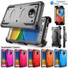 For Motorola Moto E4 /Plus/G5 Armor Hybrid Shockproof Case Cover +Tempered Glass