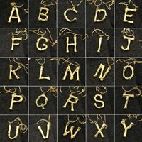 Gold Bamboo Wood Log Stick 26 Alphabet Initial Letter Pendant Chain Necklace