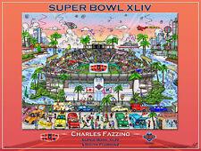 Super Bowl XLIV MIAMI 2010 Official NFL Football Charles Fazzino Pop Art POSTER