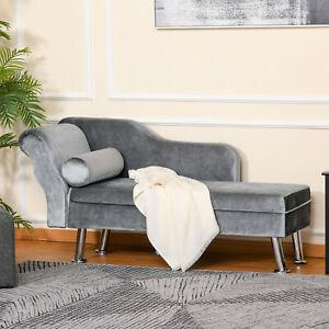 HOMCOM Chaise Longue Vintage Arm Rest Sofa Seat Cushion Sponge Grey Modern