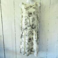 Vince Silk Dress L Large Black Ivory Drop Waist Pullover Sleeveless