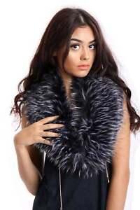 Woman Winter Faux Fur Collar Raccoon Fox Scarf Stole Cape Muffler Wrap UK Stock