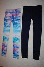 JR Womens 2 PR LEGGINGS LOT Navy Blue MOUNTAINS CLOUDS SCENERY Pink Blue L 11-13