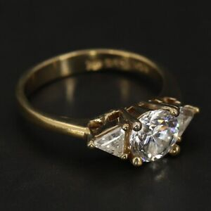 14K Gold Electroplated - UNCAS Round-Cut CZ Bow Engagement Ring Size 8.5 - 3g