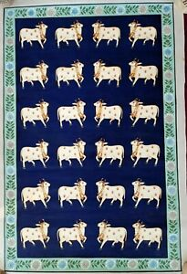 Indian Pichwai Painting of cows hand painted wall decorative artwork
