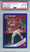2018 PANINI DONRUSS # 155 MIKE TROUT, PSA GEM MINT, HOLO BLUE, L@@K !