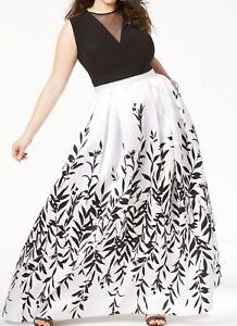 Morgan & Co. Women's Dress White Size 14W Plus Mesh Floral Ball Gown $139 #189