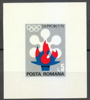 Romania 1971 MNH Mi Block 91 Sc 2300 Winter Olympic Games, Sapporo, Japan **