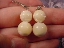 (EE-473-F) 10 mm Mother of pearl gemstone bead dangle hook earrings