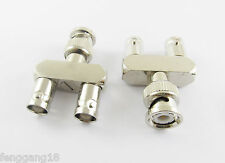 BNC Male Plug To Two BNC Female Jack Triple Y Coaxial RF Adapter Connector 3 way