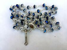 Unique Deep Blue Crystal Beads Rosary Catholic Necklace Soil Medallion Christian