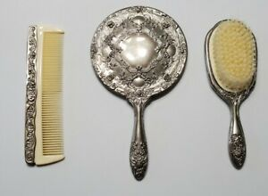 Vintage Silver Plated Hand Mirror, Brush and Comb Vanity Set Godinger