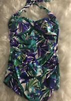 NWOT Swimslimmer Swim One Piece Women Green White Purple Twist Front Halter  16