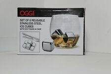 8pc set Stainless Steel Ice Cubes/Whiskey Wine Stones w/ Tongs & Case Reusable d