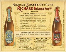 """BIERE DU LION / GRANDE BRASSERIE d'IVRY"" Etiquette-chromo originale fin 1800"
