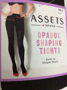Spanx Assets Womens Opaque Shaping Tights Black Built In Shaper Short 2 New