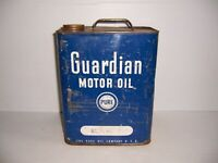 Vintage Pure Oil Co. Guardian Motor Oil 2 Gallon Can Gas Station Advertising