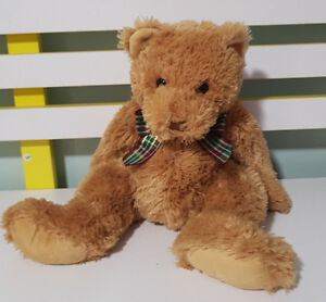 TY BEANIE SOFT TOY PLUSH TOY BEAR MAROON AND GREEN PLAID BOW CHRISTMAS 33CM 2002