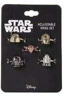 Disney Star Wars 5 Adjustable Ring Set Darth Vader Yoda C-3PO R2-D2 Boba Fett