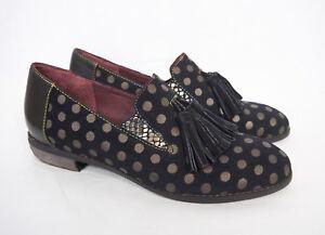L'Artiste Spring Step Klasik Shoe Women's 9 Black Polka Dot Tassel Loafer Flats
